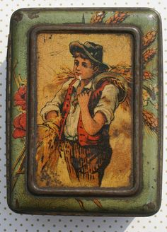 Lovely Victorian tin of young boy harvesting by Tinternet on Etsy
