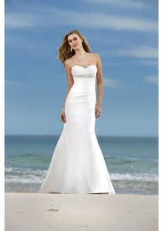 Wedding dress online shop - satin sweetheart strapless neckline with rouched bodice and slim slight mermaid style 2010 new beach wedding dress wh 0053