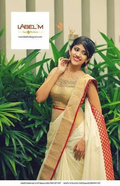 Onam Saree, Kasavu Saree, Kerala Saree, Indian Sarees, Kerala Traditional Saree, Traditional Dresses, Set Saree, Saree Dress, Simple Sarees