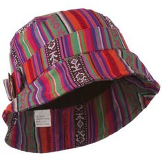 c11cb2d1e2189 Women s Tribal Print Bucket Hat With Coconut Ring Buckle - Bright Tribal  Print