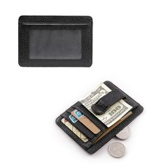 Men Real Leather Business ID Card Holder Money Clip Wallet With Strong Magnetic  #teemzone