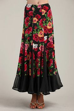 SGS37BKRD New Women Ballroom Smooth Tango Flamenco Country Dance Dress Skirt