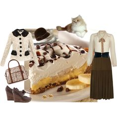 """Chocolate banana cream pie"" by tarlily on Polyvore"