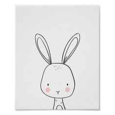 Bunny Woodland Animal Nursery art Black and white Poster ♥ A wonderful addition to your little one's nursery decor. A cute white bunny illustration. Nursery Drawings, Doodle Drawings, Nursery Prints, Nursery Wall Art, Cute Drawings, Animal Drawings, Doodle Art, Nursery Decor, Nursery Layout