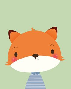 Cute fox print animal nursery print nursery decor fox