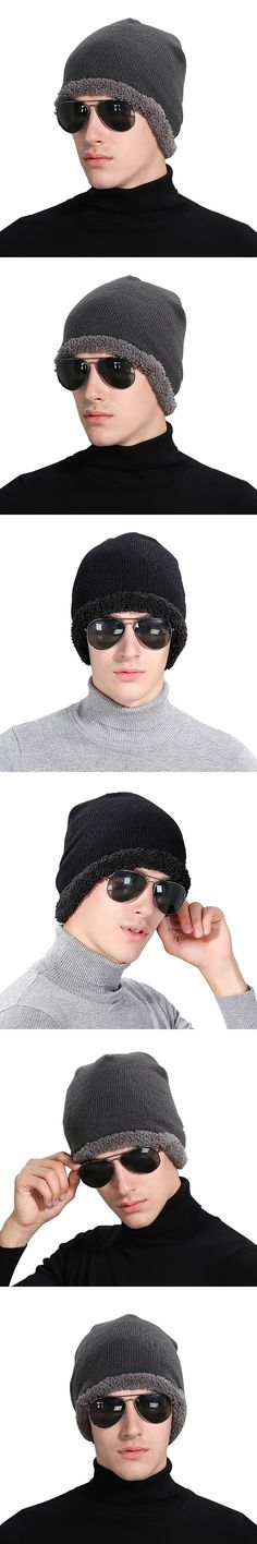 Winter high quality men fashion wool hat outdoor warm knitted hat fashion  solid color knitting wool cap warm head cap