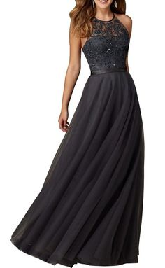 Lovelybride Delicate Halter Embroidered Bodice Waistband Prom Evening Party Dress Long (26w)