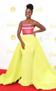 Teyonah Parris at the 2014 Emmy Awards looking FLAWLESS in Christian Siriano and her hair was done by the awesome Felicia Leatherwood    Teyonah Parris, Emmy Awards 2014