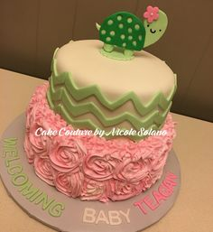Turtle baby shower cake chevron lime green and pink