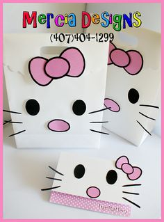 Hello Kitty Invitation Goodie Bag ~ (obviously an ad! Hello Kitty Theme Party, Hello Kitty Cupcakes, Kitty Party Games, Hello Kitty Baby, Hello Kitty Themes, Hello Kitty Birthday, First Birthday Party Themes, Birthday Fun, Birthday Ideas