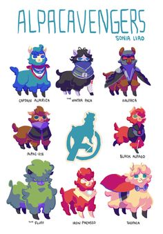 Alpacavengers - Captain America, Winter Soldier, Falcon, Hawkeye, Black Widow, Hulk, Iron Man, and Thor