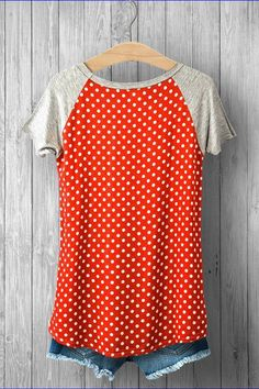 - Style: 5624-P - Color: Coral/Grey - Design: Polka Dots - Short Sleeve Knit Tee - 100% Rayon - Hand Wash Cold - Available Women Sizes: SMALL, MEDIUM, LARGE