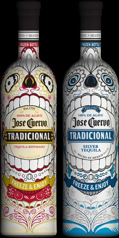 Limited edition 'Jose Cuervo'  thermochromic packaging, which features Mexican-inspired skeletons that come to life in brilliant color when chilled to at least 42 degrees.