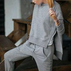 Casual Round Collar Long Sleeve High-Low Hem Gray Sweatshirt + Drawstring Pants Women's Twinset (GRAY,M) in Suits | DressLily.com