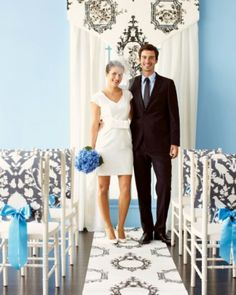 For each chair cover, drape a strip over the back, punch two holes in each end, and tie on a ribbon.