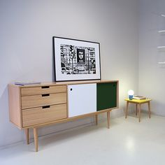 Sideboard - Oak/White/Green - alt_image_two Tv Furniture, Cabinet Furniture, Pallet Furniture, Furniture Design, Scandinavian Interior Design, Modern Interior Design, Interior Design Inspiration, Hallway Shoe Storage, Living Room Storage