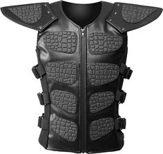 Black cyber armor by Raven SDL, padded on the front with 8 pieces of rubber (reptile texture), with awe-inspiring shoulder protectors. Armor Clothing, Tactical Clothing, Gothic Clothing, Men's Clothing, Tactical Gloves, Tactical Vest, Armadura Steampunk, Cyberpunk, Cosplay Armor