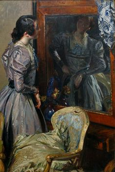 Jacques Emile Blanche - In the Mirror I Love Mirrors, Mirror Image, Mirror Mirror, Through The Looking Glass, Love Art, Impressionist, Female Art, Photography, Inspiration
