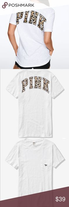 2c894ad149 PINK Leopard Print Short Sleeve Campus Tee NEW Size: Xsmall (oversized)  White Leopard