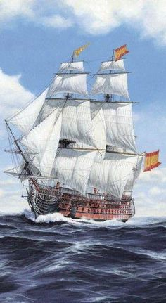 """Spanish Ship """"Satísima Trinidad"""", 4 decker, 136 guns, the Largest ship afloat. Legend Of The Seas, Pirate Art, Pirate Ships, Old Sailing Ships, Hms Victory, Ship Of The Line, Ship Drawing, Man Of War, Ship Paintings"""