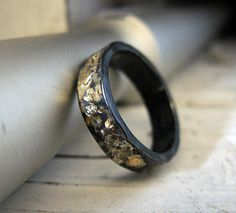 Rustic Mens Wedding Band Ring 8 75 Black Gold Oxidized Silver Unique Commitment