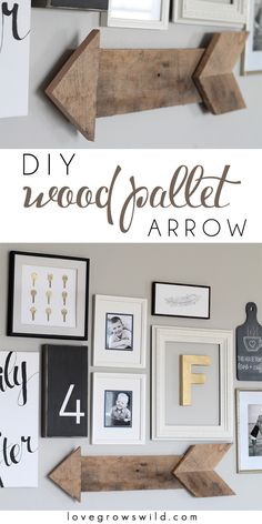 Learn how to create this simple, rustic wood pallet arrow! It adds the perfect touch to a gallery wall!