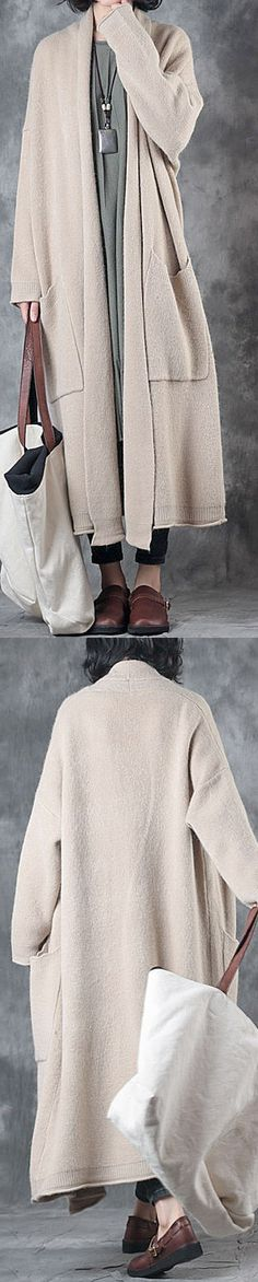 $121.00-2017beige  sweater coats plus size pockets  thick knit cardigan fall fashion
