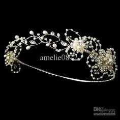Hand-made Gorgeous Silver Freshwater Pearl Circlet Bridal Headband Tiara Flower Bridal Wedding Crown