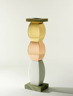 Ettore Sottsass, Bharata, Giallo Giallo Bianco | Flower vase in marble and gilded brass h 51 cm