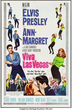 Viva Las Vegas (MGM, One Sheet X Style A. Elvis Presley and Ann-Margret prove to - Available at 2013 July 27 - 28 Movie Posters. Ann Margret, Old Movie Posters, Classic Movie Posters, Classic Movies, Vintage Posters, Music Posters, Vintage Photos, Old Movies, Vintage Movies