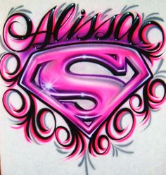 Ordered for our wedding :) Airbrush T Shirt Supergirl Logo Swirls And Name by… Airbrush Designs, Airbrush Art, Supergirl, Airbrush Shirts, Superman T Shirt, Superman Logo, Superman Symbol, Paint Shirts, Graffiti Lettering
