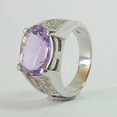 Genuine Purple Amethyst in Rodium over 925 Sterling Silver Ring Purple Amethyst, Gemstone Rings, Fine Jewelry, Silver Rings, Engagement Rings, Gemstones, Sterling Silver, Etsy, Accessories