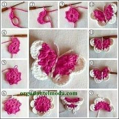 Beautiful Amigurumi Doll Crochet Pattern Ideas and Images Part amigurumi free patterns; amigurumi for beginners; Crochet Butterfly Free Pattern, Crochet Flower Patterns, Crochet Motif, Crochet Flowers, Crochet Stitches, Crochet Deer, Cute Crochet, Crochet Crafts, Crochet Projects