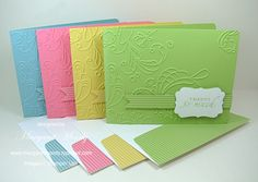 card set - elegant lines embossing folder.  I love the simplicity of this design but how pretty!