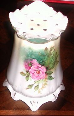 China Porcelain Hat Pin Holder Painted Gold Trimmed Collectible Glass Roses