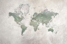 Herinnert u zich de schoolkaarten nog? De veelgebruikte kaarten van landen en plaatsen? Hier hebben we een van deze schoolkaarten als een mural gebrui