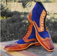 Handmade Ankle High Leather Sued Boots, Dress Men's Fashion Wing Tip Boots - Boots