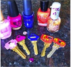 Cool ways to use nail polish Color-coordinate your keys so you never mix them up again!