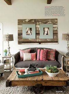 Rustic wood - love the art over the settee
