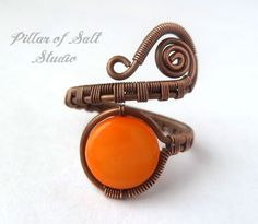 Adjustable ring / boho jewelry / Copper jewelry / wire wrapped jewelry handmade ring / orange mother of pearl / wire jewelry / woven wire on Etsy, $23.00