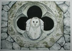 Barn Owl in Church Window - Original Watercolor - 15 x 21 by 3PaintedBirds on…