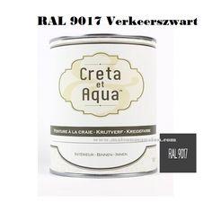 Creta et Aqua Krijtverf RAL 9017 Verkeerszwart 1 liter-Maison Mansion