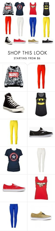 """Super heros"" by allisonjackson12 ❤ liked on Polyvore featuring Versace, Converse, Vans, River Island and Boutique Moschino"