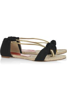 Paloma Barceló Doris twill and leather sandals $190
