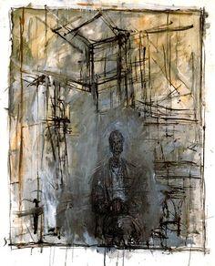 """ALBERTO GIACOMETTI - """"Diego"""" (1953)  Huile sur toile (100 x 80)"""
