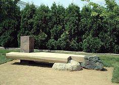 Kinji Akagawa, Garden Seating, Reading, Thinking, 1987, Granite, basalt, cedar, Walker Art Center, In memory of Elizabeth Decker Velie