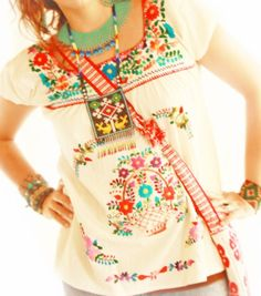 Segunda Mexican embroidered blouse by Aida Coronado