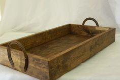 SALE-Rustic Wood Wedding Box/Tray with Horse Shoe Handles. $39.99, via Etsy.