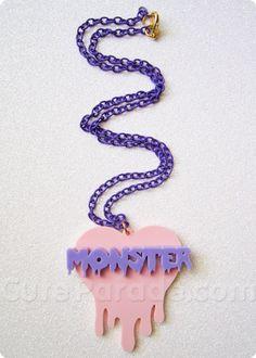 Strawberry x Grape Monster Melting Dripping Heart Necklace Kawaii Fairy Kei Creepy Cute
