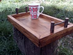 Serving Tray, Rustic Tray, Wooden Tray, Tray with Handles, Home Decor, Unique Handles, Cherry Wood Handles, Burned Wood